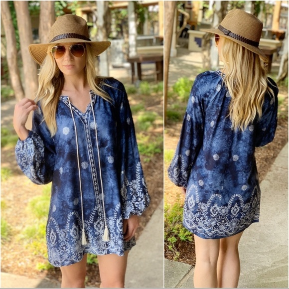 Infinity Raine Dresses & Skirts - Navy Embroidered Mineral Wash Tunic Dress
